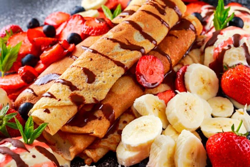 Recetas de crepes de helado y frutas