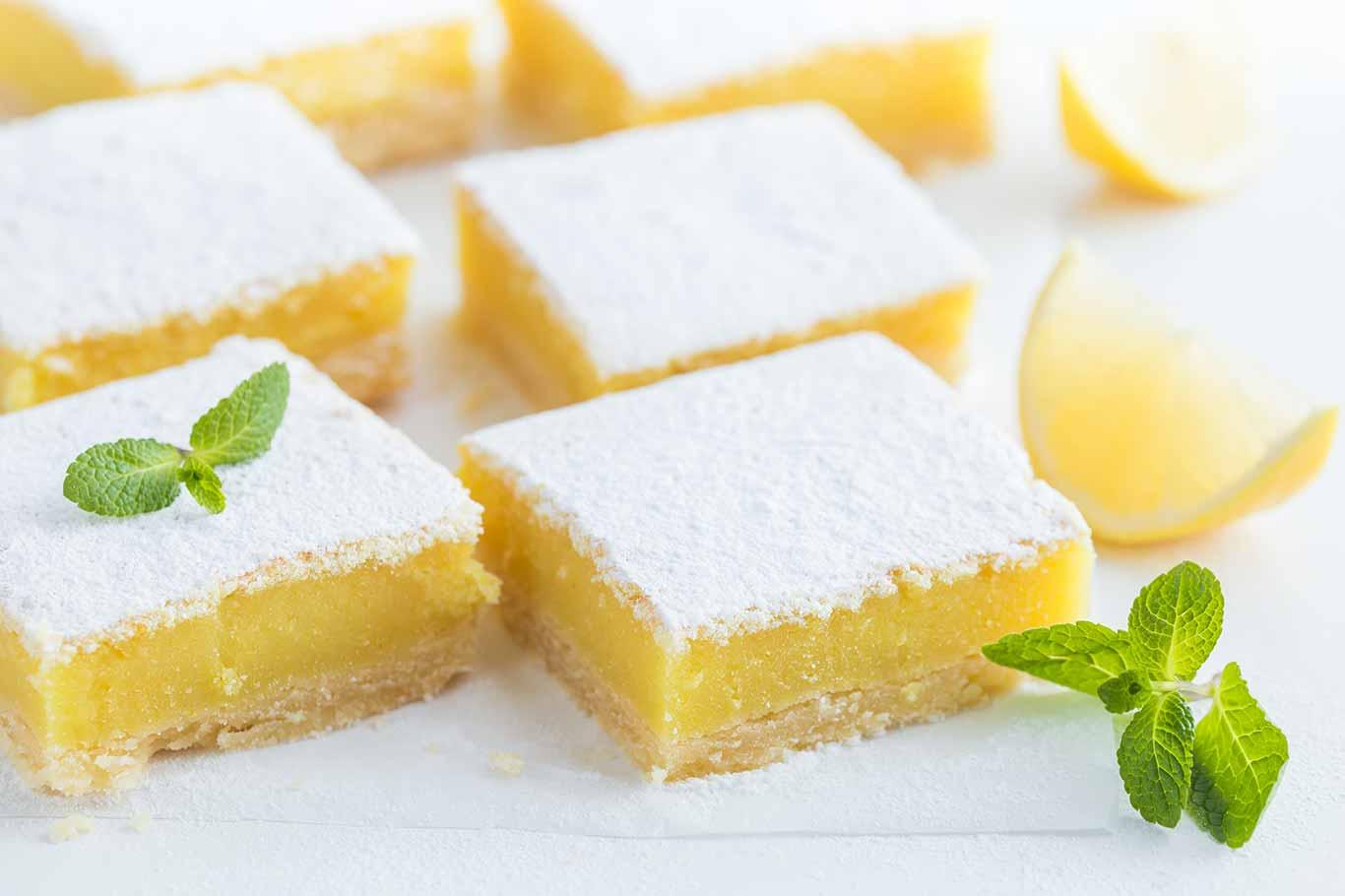Receta de barras de limón