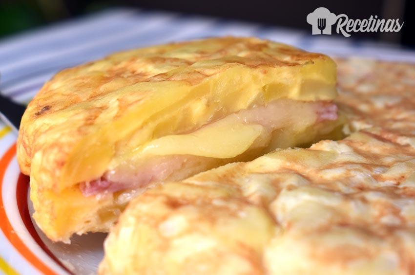 Tortilla De Patata Rellena De Jamón Y Queso Recetinas