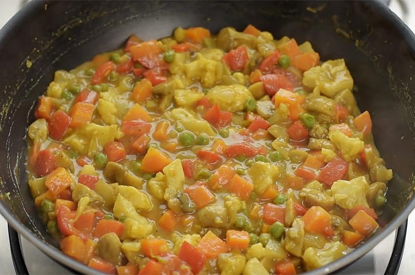 Receta de verduras al curry