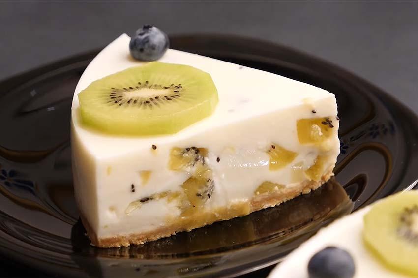 Receta de tarta de yogur y kiwi sin horno