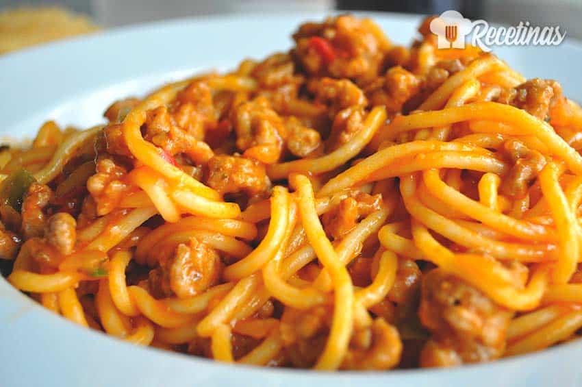 Receta de espaguetis con carne