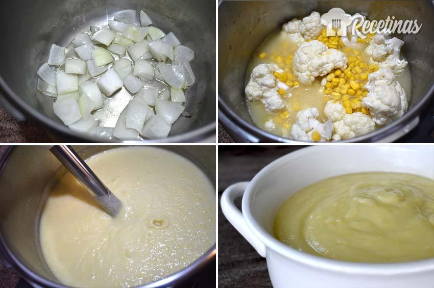 Puré de coliflor con maíz.